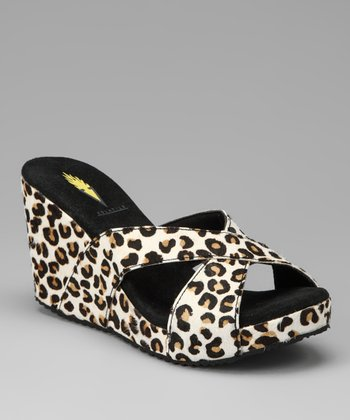 Tan & Leopard Toni Wedge Sandal