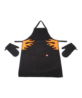 Black Flame Barbecue Apron & Oven Mitt Set