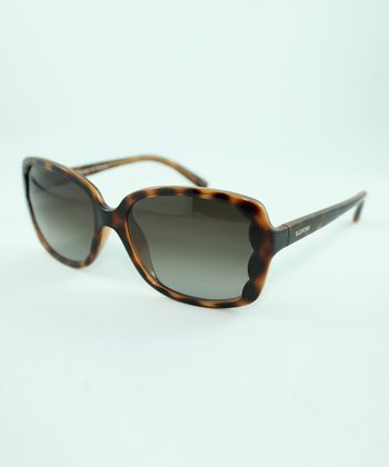 Dark Havana Scallop-Edge Rectangle Sunglasses