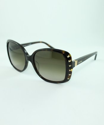 Dark Havana Studded Square Sunglasses