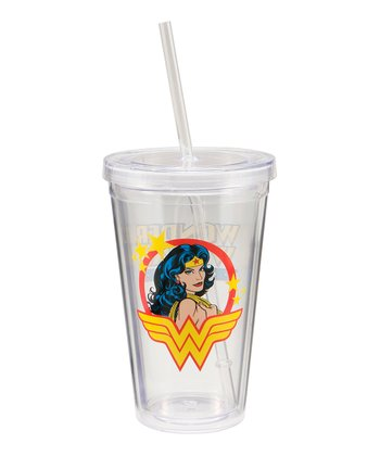 Clear Wonder Woman Travel Tumbler