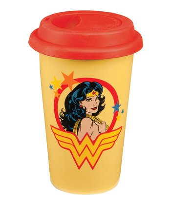 Yellow & Red Wonder Woman Ceramic Travel Mug