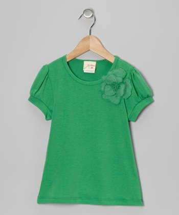 Green Daisy Tee - Girls