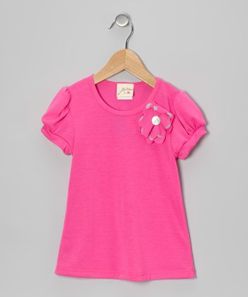 Hot Pink Daisy Tee - Girls