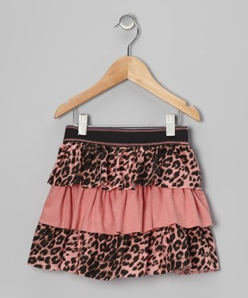Leopard & Coral Tiered Skirt - Toddler & Girls
