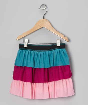 Turquoise & Pink Tiered Skirt - Toddler & Girls
