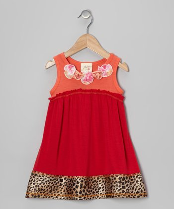 Red & Orange Cheetah Rosette Dress - Toddler & Girls