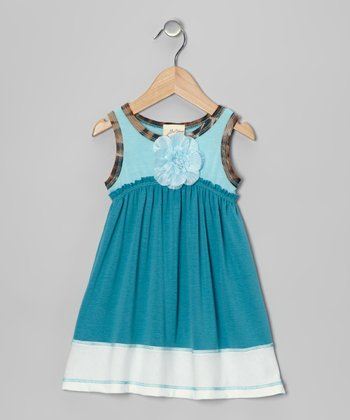 Teal & Blue Blossom Dress - Toddler
