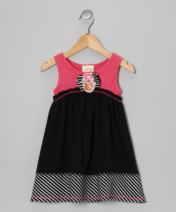 Fuchsia & Black Blossom Dress - Toddler