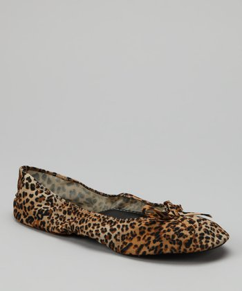 Yellow Leopard Fold-Up Ballet Flat