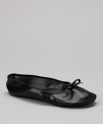 Black Lizard Fold-Up Ballet Flat