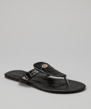 Black Crocodile Sandal