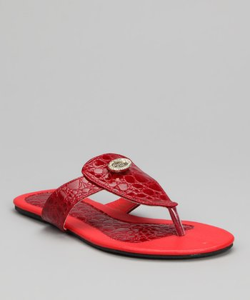 Red Crocodile Sandal