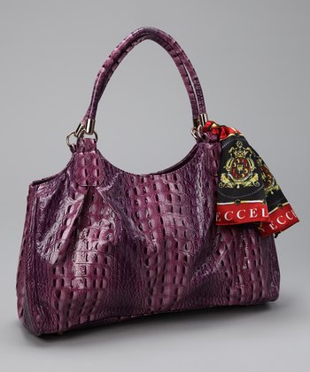 Purple Alligator Pleated Satchel