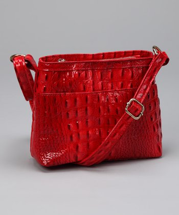 Red Alligator Crossbody Bag