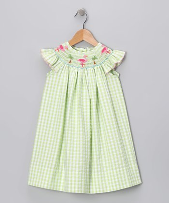 Lime Gingham Flamingo Angel-Sleeve Dress - Girls