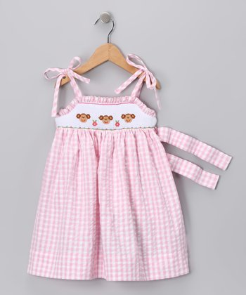Pink Gingham Monkey Sundress - Infant, Toddler & Girls