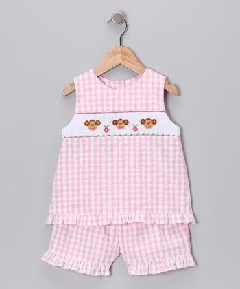 Pink Gingham Monkey Tank & Shorts - Girls