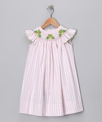 Pink Stripe Frog Angel-Sleeve Dress - Infant, Toddler & Girls