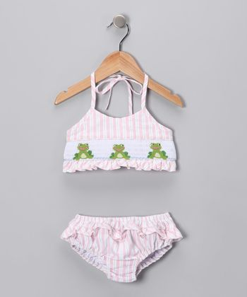 Pink & Blue Frog Cotton Bikini - Infant & Girls