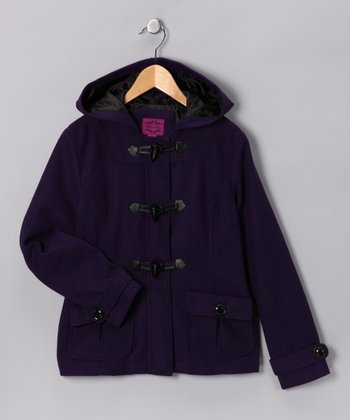 Purple Toggle Peacoat - Girls