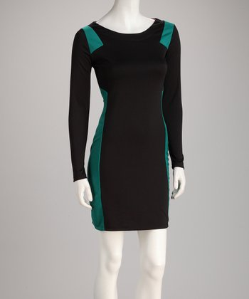 Velvet Torch Black & Jade Color Block Ponte Dress