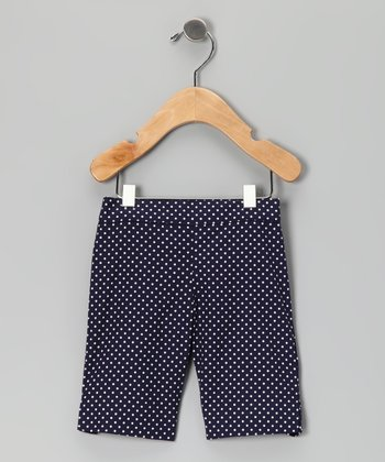 Navy Pin Dot Bermuda Shorts - Girls
