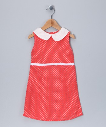 Coral Polka Dot A-Line Dress - Infant, Toddler & Girls
