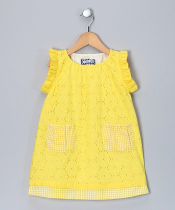 Yellow Eyelet Flutter-Sleeve Dress - Infant & Toddler