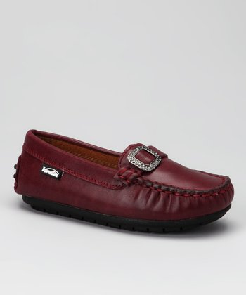 Venettini Bordeaux Silk Crystal Loafer