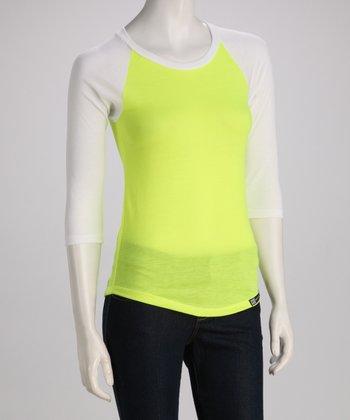 White & Yellow Raglan Top - Women