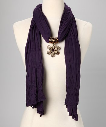 Purple Flower Gem Scarf & Pendant