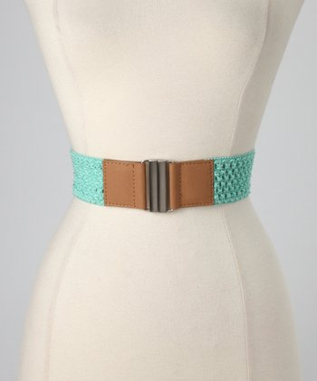 Mint & Light Tan Crocheted Stretch Belt