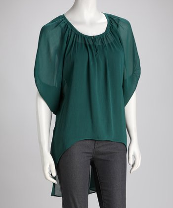 Green Sheer Shirttail Top