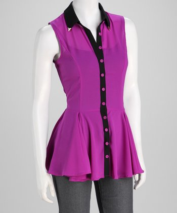 Magenta & Black Button-Up Top
