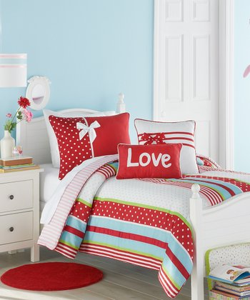 Red & White American Sweetheart Twin Comforter & Sham