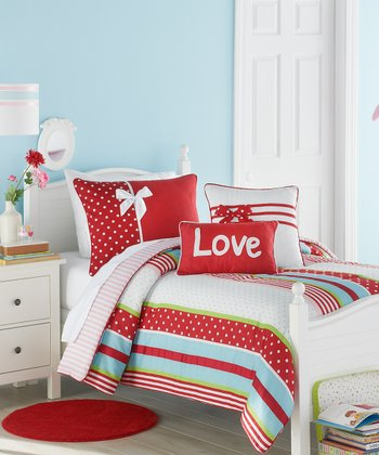 Red & White American Sweetheart Comforter Set