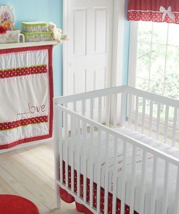 Red & White American Sweetheart Crib Bedding Set
