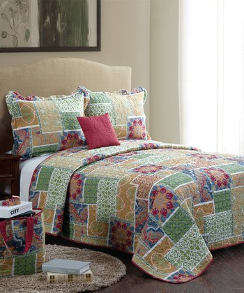 Red Catalina Full/Queen Quilt Set