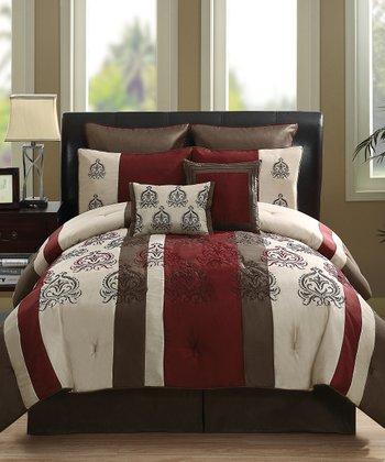 Red Granada Jacquard Stripe Queen Comforter Set