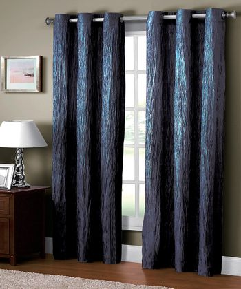 Navy Jericho Crushed Grommet Curtain Panel