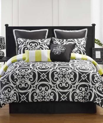 Black & White Kennedy Queen Comforter Set