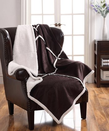 Chocolate Lisa Sherpa Patchwork Throw