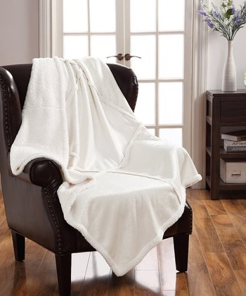 Ivory Lisa Sherpa Patchwork Throw
