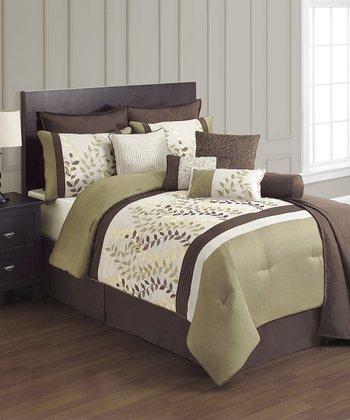 Green & Chocolate Eden Queen Comforter Set