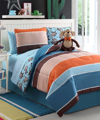 Justin Monkey Reversible Comforter Set