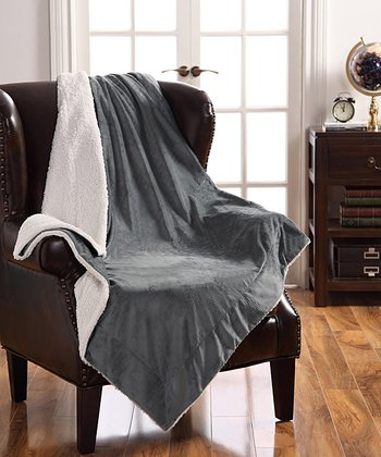 Gray Micro Mink Sherpa Throw