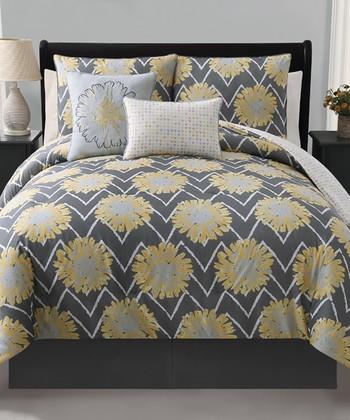 Yellow Naomi Reversible Twin Comforter Set