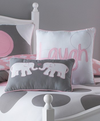 Pink & Gray Parade Throw Pillow Set