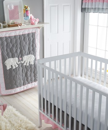 Pink & Gray Parade Crib Bedding Set
